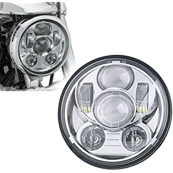 SUNPIE 5-3/4 5.75 Inch Projector LED Headlight for Harley Davidson Motorcycles Headlamp 45W Chrome