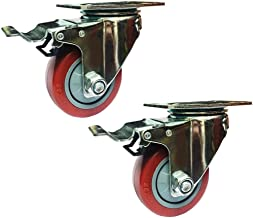 Material Handling Products 3 Inch Medium Type PVC Directional Casters Trolleys Wheel with Brake Wearable Mute Bearing 100k...