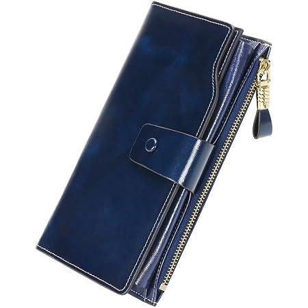 UTO Femme Portefeuille Blocage RFID Cuir Synth/étique Porte Monnaie Matte Bien organis/é Pratique Bleu
