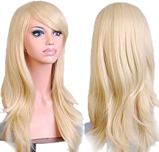 BERON Classical Long Wavy Curly Cosplay Halloween Party Wigs with Wig Cap (Light Blonde)