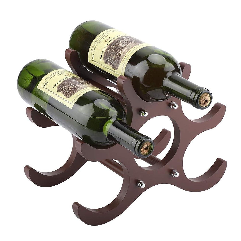 受けるハッピー浴木製赤ワインホルダー、ワインラック6ボトルホルダーストレージ、ホームキッチンバー装飾ディスプレイ棚