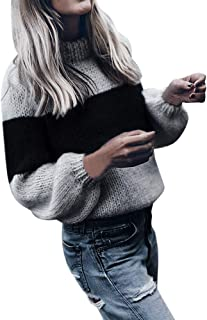 Kansopa Women Sweaters Long Sleeve Crew Neck Color Block Striped Oversized Casual Warm Knitted Pullover Tops
