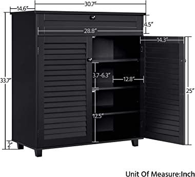 YAHEETECH Shoe Cabinet Bathroom Office Storage Cabinet with Drawer Adjustable Shelf Shoe Rack Pinter/Microwave Oven Stand for
