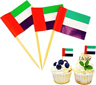 Ur-life UAE Toothpick Flag Toppers 100 PCS Cake Decorations Emirates Toothpick Flag Topper UAE Flag Day UAE National Day N...