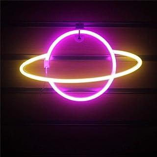 QiaoFei Décoration murale LED en forme de planète néon - Fonctionne avec piles ou USB - Cadeau d'anniversaire - Rose et blanc