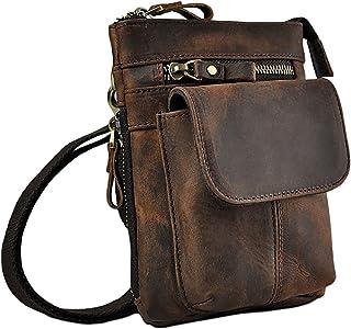 Leuchtbox Echtleder Outdoor Gürteltasche Hüfttasche Umhängetasche Handytasche Crossbody Bag für Damen und Herren Unisex - Echtes Rindsleder Braun