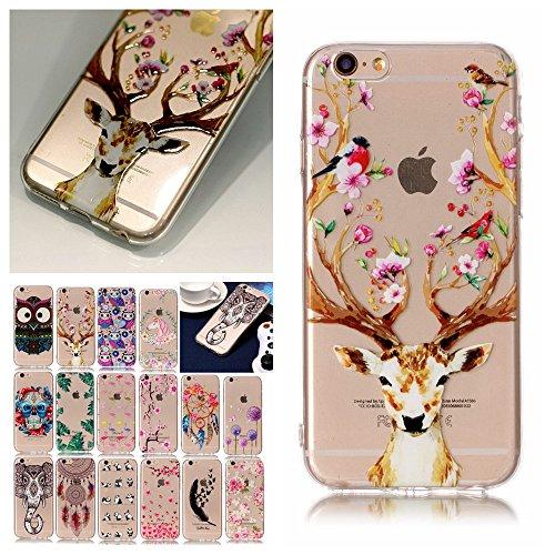V-Ted kompatibel mit Apple iPhone 7 8 Hülle Case Transparent mit Muster Blumen Hirsch Ultra Dünn Durchsichtig Silikon Gummi Bumper Etui Schutzhülle Tasche Folie Handyhülle
