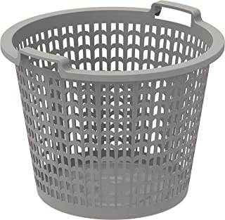 Cosmoplast Plastic Wide Laundry Bin With Handle Grips, Grey, 50 Litre, IFHHLA322G6