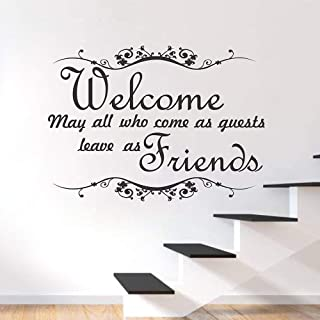 WSYYW Welcome with Quotes Wall Stickers Quotes Words Decals Vinyl Restaurant Bar Cafe Salon Wall Decoration Wallpaper Mural Applique Wall Stickers Home Garden Teal 31x42cm