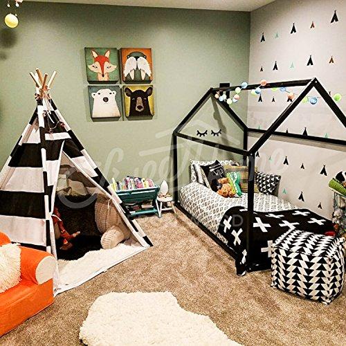 Cama Infantil Tipo Montessori, cama de flores, Cama montessori blanco gris negro rosa color (Gris, 190x135cm)