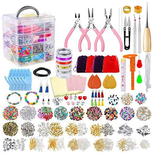 junengSO Puzzle Jigsaw, Suministros para Hacer Joyas Kit de Bricolaje con Abalorios Encantos Fornituras Alicates para joyería Alambre