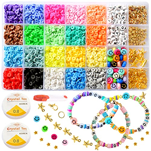 4000 Pcs Clay Heishi Beads Bracelet Kit for Jewelry Making 20 Colors Round Flat...