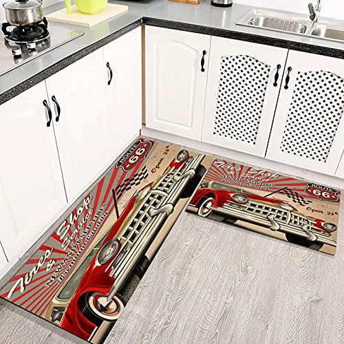 Alfombras Cocina Lavable Antideslizante Cartel Retro de Servicio de neumáticos Alfombrilla de Goma Alfombra de Baño