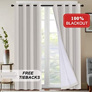100% Blackout Curtains Extra Long 108 Inches Thermal Insulated Blackout Curtains for Patio Sliding Doors Grommet Decorative Curtains & Draperies Waterproof Curtains with Tie-Back, 2 Panels, Natural