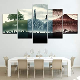 FJNS Canvases Print - Lord of The Rings Poster Pictures - for Living Room Home Decor Gallery Art - 5 Panels Pieces Multiple Pictures - Posters Wall Decor Gift,B,20x30x220x40x220x50x1