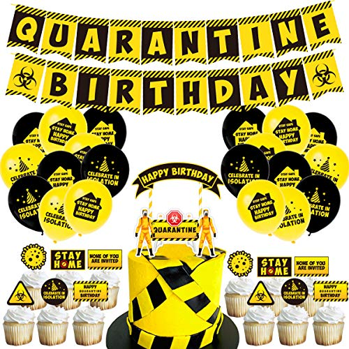 Quarantine Birthday Party Decoration Kit, Include 1 Isolated Party Birthday Flag, 25 Isolated Party Cake Cards, 20 12-inch Isolated Party Balloons (10 Yellow and 10 Black), 1 Coil and 1 Piece of Glue