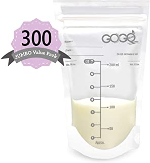 300 Count (5 Pack of 60 Bags) Jumbo Value Pack Breastmilk Storage Bags - 7 OZ, Pre-Sterilized, BPA Free, Leak Proof Double...