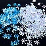 Nuluxi Flocons de Neige Paillette Confettis de Noël Confettis de Table Blanc et Bleu d'Hiver Décorations de Flocons de Neige Flocons de Neige Scintillants de Table Confettis pour la Décoration de Fête