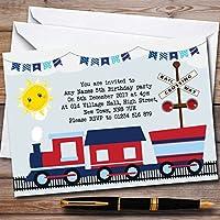 ブルー&レッドTrain Childrens誕生日パーティー招待状 150 Invitations