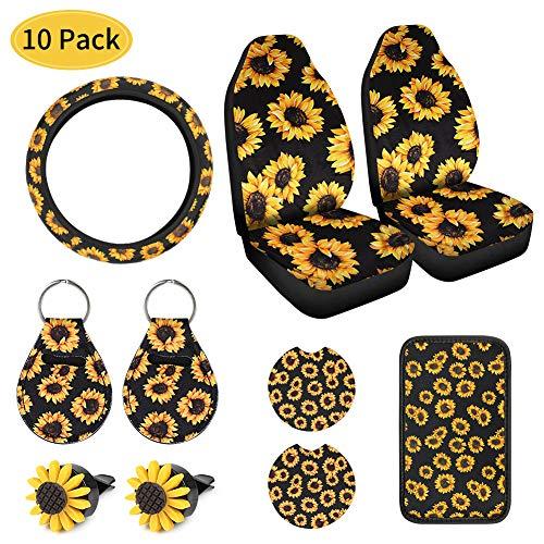 GES - Set di 10 graziosi accessori per auto, girasole, girasole, girasole, portachiavi, girasole, girasole, accessori per auto per ragazze e donne