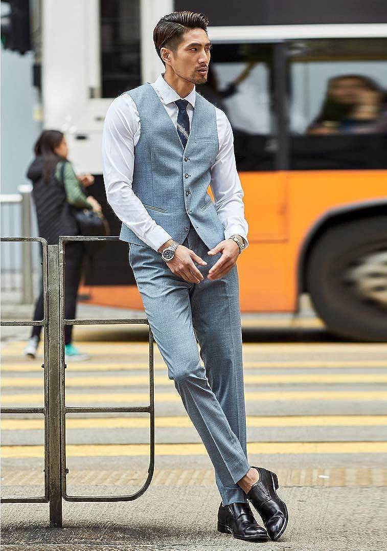 Newdeve Men's Casual Suits Light Blue 3 Pieces Fashion Set