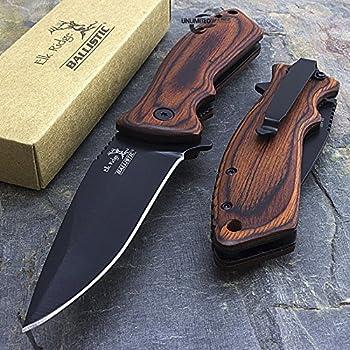 7.75  ELK RIDGE WOOD SPRING ASSISTED FOLDING POCKET KNIFE Blade Open Assist