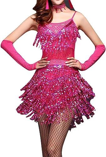Robe de danse latine Tango Rumba Femmes Paillettes Brillantes Tassel Robe De Danse Latine Outfit Sans Manches Perlée Frange Flapper Robe Adulte Ballroom Dancewear Stage Perforhommece Costumes De Danse p