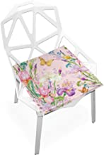 Danexwi Girls Butterfly Fairy with Flowers Custom Soft Non-Slip Square Memory Foam Chair Pads Cushions Seat for Home Kitchen Dining Room Office Wheelchair Desk Wooden Furniture Indoor 16 X 16 Inch