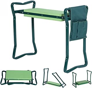 5 STAR SUPER DEALS 5Star Foldable Garden Kneeler with Handles and Seat - Bonus Tool Pouch - Portable Garden Stool - Thick EVA Pad (Large - 23.5 x 10.5 x 19, Green)