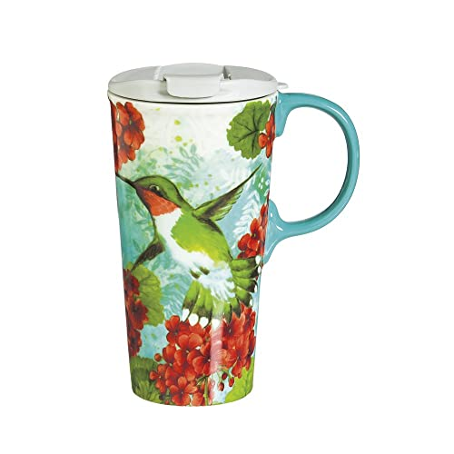 Cypress Home Trio Birds 17 oz Boxed Ceramic Perfect Travel Coffee Mug or Tea Cup with