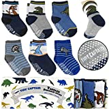Tiny Captain Toddler Boys Dinosaur Socks 1 Year Old Non Slip Grips 8 36 Months Gift 6 Pack Ages 1 to 3 (Dark Colors) (1-3 Year Old, Blue)