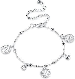 R/églable COOLSTEELANDBEYOND Acier Inoxydable Femme Filles Fleur de Tulipe Cha/îne Maillons Bracelets de Cheville avec Grelot