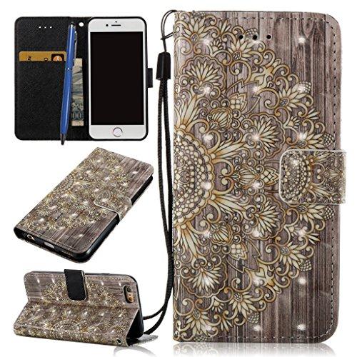 Careynoce Portemonnee 3D Emboss Lederen Hoesje voor Apple iPhone 6S Plus/iPhone 6 Plus Portemonneehouder M08