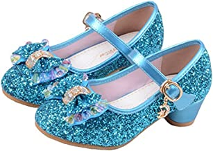 YING LAN Girl's Princess Cosplay Performance Shoes Sequins Wedding Dress Shoes Low Heeled