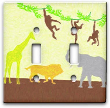 Jungle Art - Decor Double Switch Plate Cover Metal