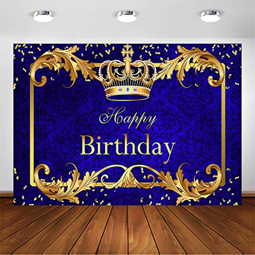 Avezano Prince Birthday Party Backdrop for Boy's Royal Blue and Gold King Crown Party Decoration Photography Background Royal Little Prince Happy Birthday Party Banner Photoshoot (7x5ft)