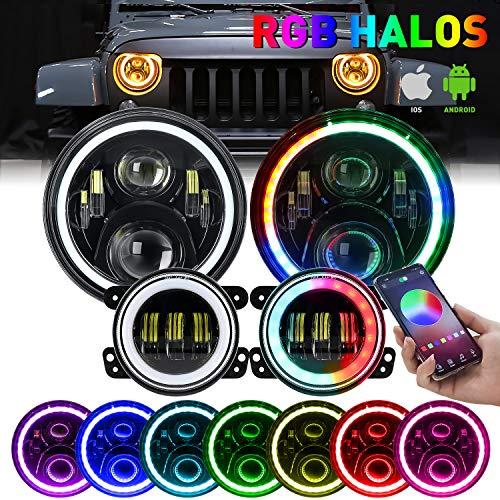 """Jeep Wrangler LED Headlight, 7'' LED Halo Headlights RGB Angle Eye w/ 4"""" LED Fog Lights Combo for Jeep Wrangler 1997-2018 JK TJ LJ JKU Bluetooth Remote Control DOT Approved"""
