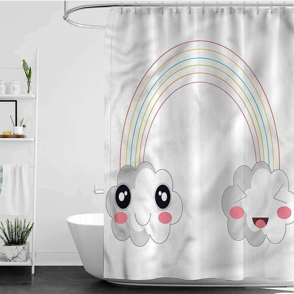 SKDSArts Max 66% OFF Shower Curtains for Bathroom Kids Plastic Rainbow 2021 model Happy