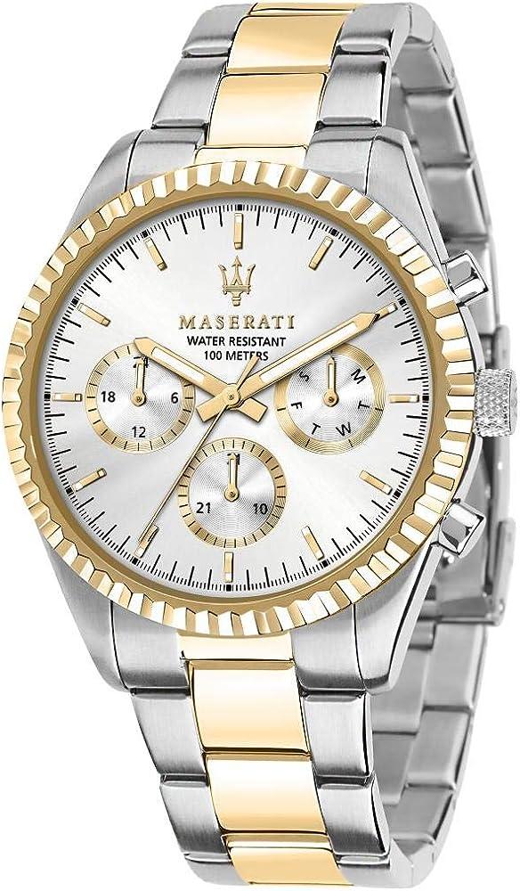 Maserati orologio da uomo, collezione competizione, in acciaio, pvd oro 8033288892281