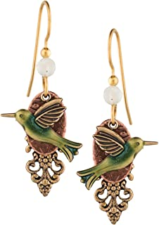 Silver Forest Hummingbird Dangle 18K Gold-Plated Earrings E-6801