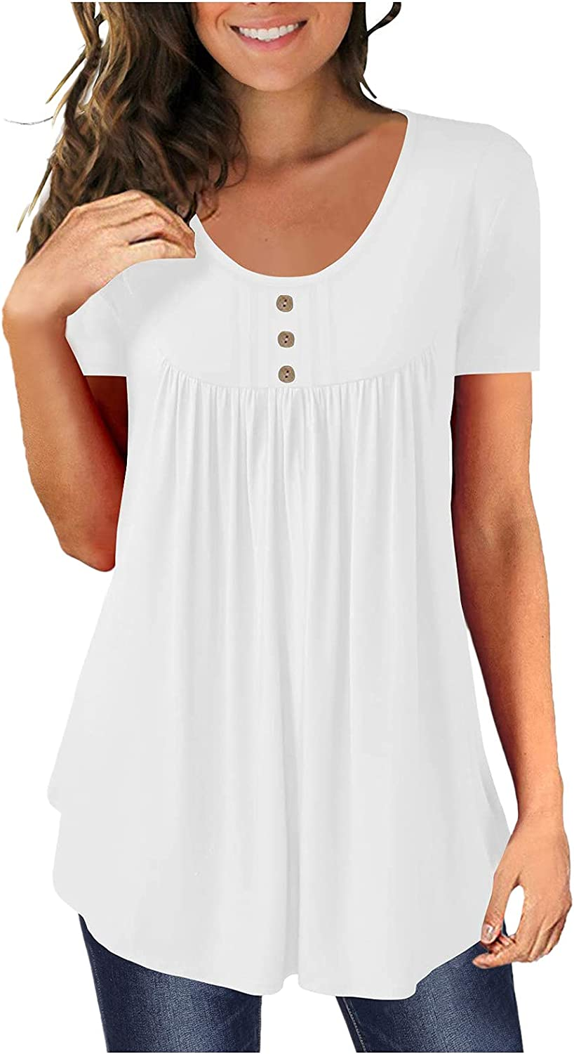 Eduavar Tops for Women Summer,Womens Fashion Gardient Color Short Sleeve V Neck T Shirts Casual Loose Tunic Tee Blouses