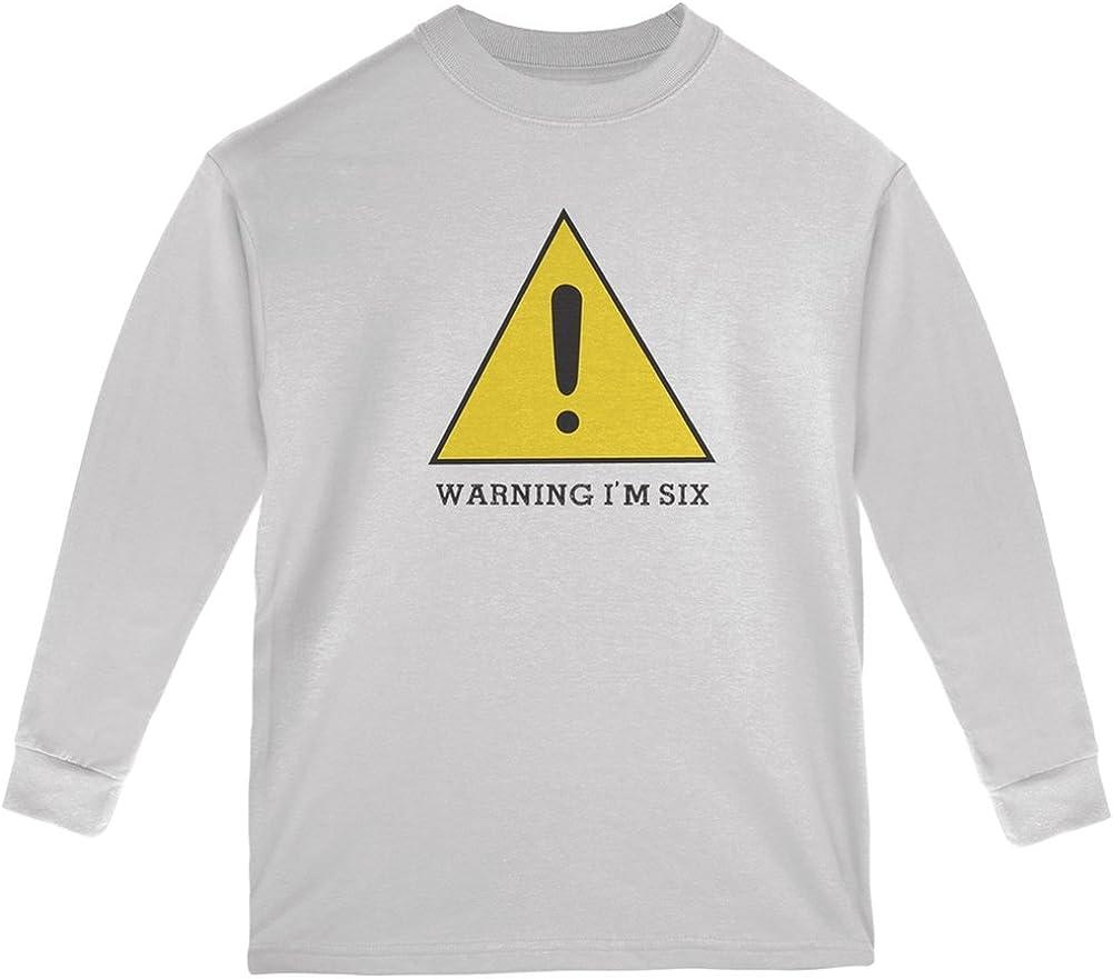 Old Glory Warning Im Six White Youth Long Sleeve T-Shirt