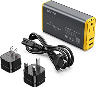BESTEK Universal Voltage Converter, [Pure Sine Wave] Travel Power Converter Adapter for Hair Straightener/Curler, 100-240V to 110V Travel Adapter with Fast USB (Greay-Yellow)