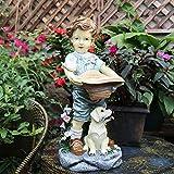 LXHJZ Resina Efecto Piedra Grande Adornos para niños Estatuas jardín Vintage Antiguo, Estatuilla Amores Patio