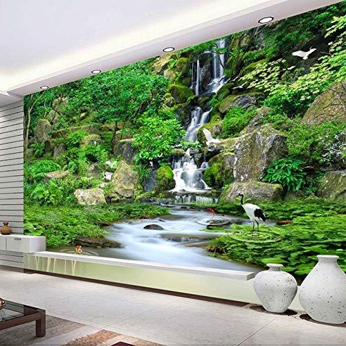 Mural de pared 3D Papel tapiz fotográfico HD Cascada Bosque Naturaleza Paisaje Fresco Sala de estar TV Sofá Telón de fondo Papel Mural Decoración del hogar-300x210cm