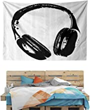 Grunge Headphones Fun Tapestry, Indian Dorm Decor for Living Room Bedroom, 59W x 39.3L Inches