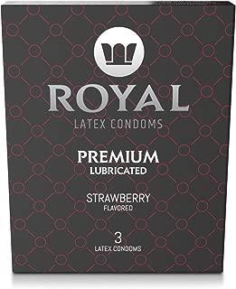 Royal Condoms - Strawberry Flavored and Scented – Ultra Thin Latex, Premium Lubricant, Organic, Vegan, Nitrosamine Free, Gluten Free, Non-Toxic, Cruelty Free, 3 Pack