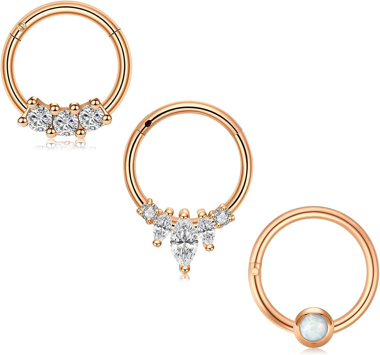 Zolure 16G Stainless Steel Septum Clicker Nose Rings Hoop Cartilage Tragus Daith Earrings Piercing Hinged Clicker Septum Ring Body Piercing Jewelry …