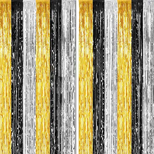 2 Packs 3ft x 8.3ft Gold Silver Black Metallic Tinsel Foil Fringe Curtains Photo Booth Props for Birthday Engagement Bridal Shower Baby Shower Bachelorette Holiday Celebration Party Decorations