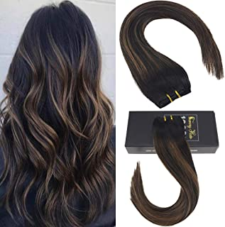 Sunny Remy Hair Extensions Clip in 18 inch Remy Human Hair Straight Hair Extensions Dip Dye Off Black Ombre to Medium Brown and Black Clip in Extensions Balayage Hair Extensions 120g 7pcs